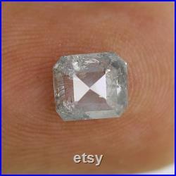 0.81 CT Emerald Shape Diamond Loose Natural Grey Black Color Diamond 5.8 x 5.1 x 2.9 MM Conflict Free Salt and Pepper Diamond Wedding Ring