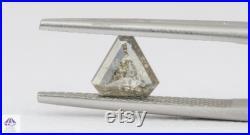 0.92ct Triangle Shape Salt and Pepper Rose Cut Diamond, 6.8 5.9 2.9mm SPT23 Gray Grey Natural Engagement Ring Custom Jewelry OOAK Geometric