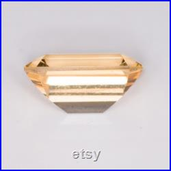 0.952 Carat Orange Yellow Sapphire Excellent Cut Emerald 6.44 x 4.46 mm Heated Loose Stone