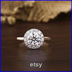 1.43 Round Brilliant Cut Ring Halo pattern Certified Diamond Hpht Cvd Diamond I Colour Si Clarity Lab Stone