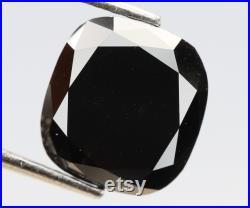 1.94 Ct, 7.3 X 6.8 X 3.7 MM, Loose Diamond Black Color Cushion Shape Rose Cut Polished Diamond, Earth Mine Stone, Huge Collection, DG4998