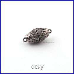 1 Pc Pave Diamond Loop, Magnet Lock, Two Link Loop, 925 Sterling Silver, 20mmx9mm Pave Diamond Loop, BL028