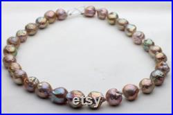10-13mm Natural green color pearl strand,baroque nuclear pearl necklace,DBLH03