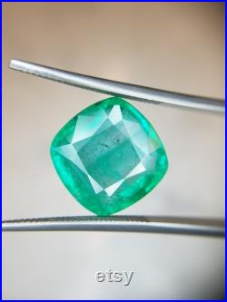 10.41 Ct Weight Cushion Shaped Green Color GIA Certified Emerald Gemstone.