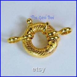 12MM 14k Solid Yellow Gold Designer Italy Spring Ring Clasp CLOSED