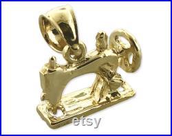 14K Gold 3D Sewing Machine Charm