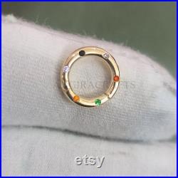 14K Gold Round Diamond Charm Holder, 14K Enhancer Lock, 14K Gold Push Lock, 14K Gold Snap Lock, Solid Gold Jewelry, 14K Gold Clasp Lock