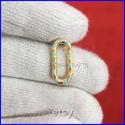 14K Solid Gold Turquoise Enhancer Charms Holder. 14K Gold Gemstone Enhancer, 14K Round Wire Enhancer, 14K Diamond Push Lock