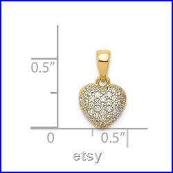 14k Gold Polished Pav CZ Heart Pendant New Charm Yellow Gold