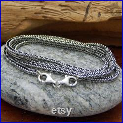 16.62 Necklace with the Double Lobster silver clasp solid 925 Oxidized Sterling silver Snake Foxtail chain fits small and big core beads