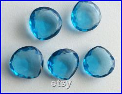 18mm Blue Hydro Quartz Rose Cut Heart Shaped Stones, Blue Hydro Quartz Loose Stones, Hydro Gemstones For Jewelry, Heart Shaped Gems