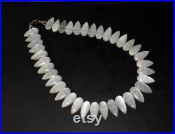 19 Inch Natural White Moonstone Necklace Pear Shape Necklace Collar Designer Gemstone Necklace Ethnic Bohemian Traditional Unique Gift Idea
