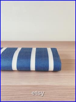 1930-1950 Blue Antique European Ticking Fabric Damask Sateen Cotton