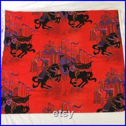 1950 s Tintagel Jousting Knight Vintage Fabric Cotton Decorator weight 5 yards
