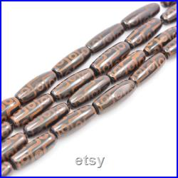1Str Antique Dark Brown Bulk Tibetan Dzi Beads 40mm Bucket Beads, Black Dzi Beads Agate Rice Beads, Antique Dzi Beads Drum Beads DIY Beads