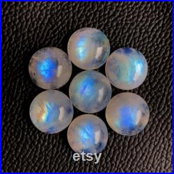 2 Pcs 17mm Round Rainbow Moonstone Cabochon, AAA Quality Full Flashy Rainbow Moonstone Gemstone, 100 Natural Calibrated Size Moonstone