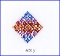 25PCS PRINCESS CUT 2.5mm Rainbow Sapphire Square AAA Multi Sapphire Gemstone Princess Cut Sapphire 2.5mm Square Faceted Loose Gemstone
