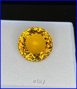 27.65Carat Natural Citrine 19.50X19.50MM Round Faceted Loupe Clean Loose Gemstone For Jewellery Making at Wholesale Price
