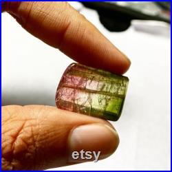 27.80 Carats Natural Watermelon Multi Color Tourmaline Cabochon Drilled Loose Gemstone AAA Grade Bi Tourmaline Four Corner Cabochon Raw Gems