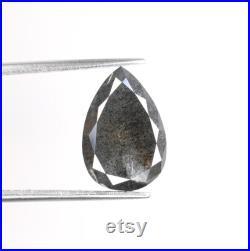 3 CT Pear 12 MM Salt and Pepper Diamond Brilliant Cut Diamond