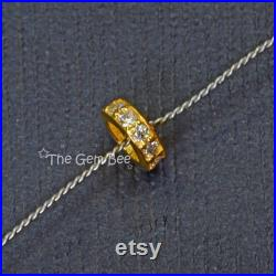 5.2mm 18k Solid Yellow Gold Diamond Eternity Rondelle Spacer Finding Bead (5)