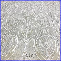 5 YARDS MONTECASEL White Glitter Embroidery Mesh Lace Dress Fabric