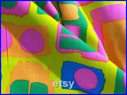 60's Modern POP ART Moving Squares Barkcloth Era Vintage Fabric Unused Uphostery Mid Century