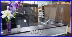 66 w x 30 h Free-standing Clear Sneeze Guard Shield for Businesses or Counters (Brackets Included)