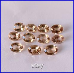 7x9MM Oval Natural Peach Colour Morganite Faceted Oval Loupe Clean Loose Gemstone for Jewellery Making at Wholesale Price 100 Natural