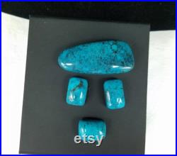 87ct Kingman High Grade Turquoise Cabochon set of 4, Vintage 1980s Old Stock