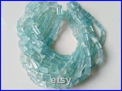 AAA Aquarmarine Faceted Tube Shape Beads, Beads Size 4.5x11 to 9x13mm, 16 Inches Strand, Gift for Velentine, Handmade Gemstone beads.