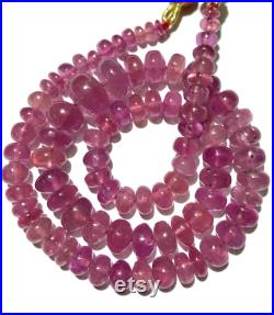 AAA Natural Pink Sapphire Smooth Rondelle Beads Beautiful Pink Sapphire 6mm-11mm Rondelle Beads Pink Sapphire Smooth Beads 17 Inch Necklace