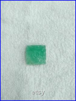 AAA Precious Green Emerald Gemstone Smooth Flower Carved Square Shape Loose Stone Natural Russian Emerald Carved Stone For Jewelry