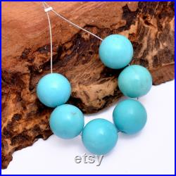 AAA Rare Size Turquoise Gemstone 10mm Smooth Round Loose Beads Genuine Arizona Turquoise High Quality Gemstone Beads 6 Loose Beads