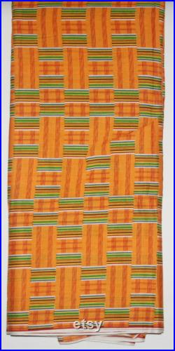African Fabric 12 Yards Woodin Le Createur Vlisco Classic Orange Red Green Yellow White Kente Fabric