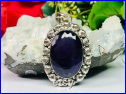 Amethyst Pendant,925 Sterling Silver Pendant,Heavy Solid Silver Pendant,Boho Design Pendant,Spiritual Awareness Pendant,Gift For Her.