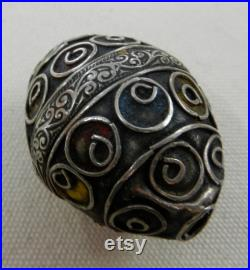 Antique Berber Silver Taguemout Or Egg Bead With Blue, Yellow and Red Enameling 40MM Long By 33MM Wide