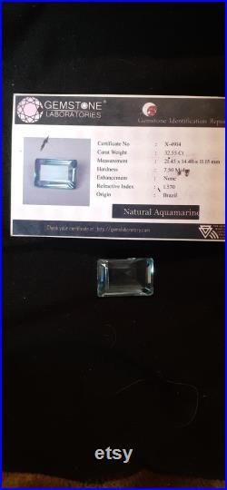 Aquamarine gemstone 32.55 ct