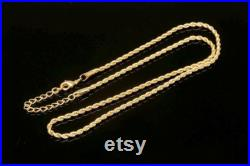 B483-20pcs FR 0.5 Rope Chain Necklace-41cm Extender 5 cm Gold Plated 2.5mm thick Bold Chain Necklace