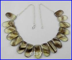Bio Color Shaded Lemon Gemstone Necklace 925 Strling Silver Jewelry Earring Set Women Wedding and Casual Party Wear Necklace And Earring Set .