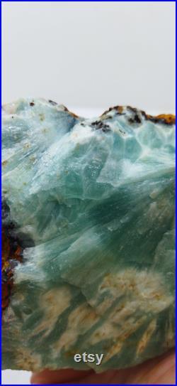 Blue Aragonite Crystals. Healty. Aragonite Stone. Natural Stone. Blue color.