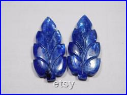 Blue Sapphire Carving Natural Blue Sapphire Carved Gemstone,Hand Carved Stone, Pear Shape AAA Quality Pair Loose Gemstone, 2 Piece,