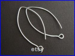 Bulk 50 pcs, 37x20mm, Sterling Silver Elongated SEXY Leaf Earwires, Handmade Findings EW-0017