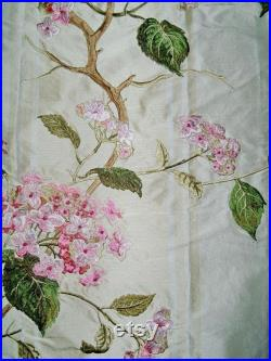 COLEFAX and FOWLER SUMMERBY Embroidered Floral Silk Stripes Fabric 10 Yards Cream Pink Green