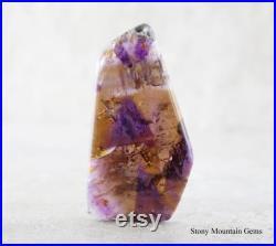 Cacoxenite Amethyst Designer Cabochon, Rare Collector Gemstone, Sparkling Golden Quartz, Purple Amethyst, Metaphysical Crystal Cabochon