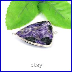 Charoite Gemstone Connector 925 Sterling Silver 45 X 34 MM,925 Sterling Silver-Faceted Gemstone Link Connector-Double Bail-Jewelry Making