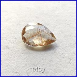 Copper Rutile Quartz Faceted Pear Cut Stone 29x21x10 mm Natural Loose Gemstone Genuine Rutile Quartz Looe Copper Rutile Stone Rare