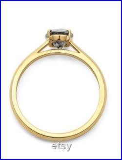 Custom Diamond Ring Order for Natalie 14k yellow Gold 4.09 ct Salt and Pepper Diamond Ring R6183