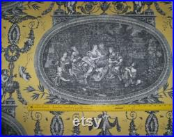 DESIGNER NEOCLASSICAL ROUSSEAU French Toile Fabric 20 Yards Yellow Black White