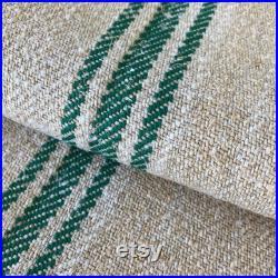 Emerald Green Organic home Antique HEMP GORGEOUS linen Grainsack Stair runner Table runner grain sack 6.8